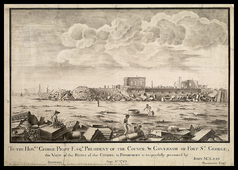 Ruines_de_Pondichery_en_1762.jpg - von J Mac Lean (Archives anglaises) [Public domain], via Wikimedia Commons